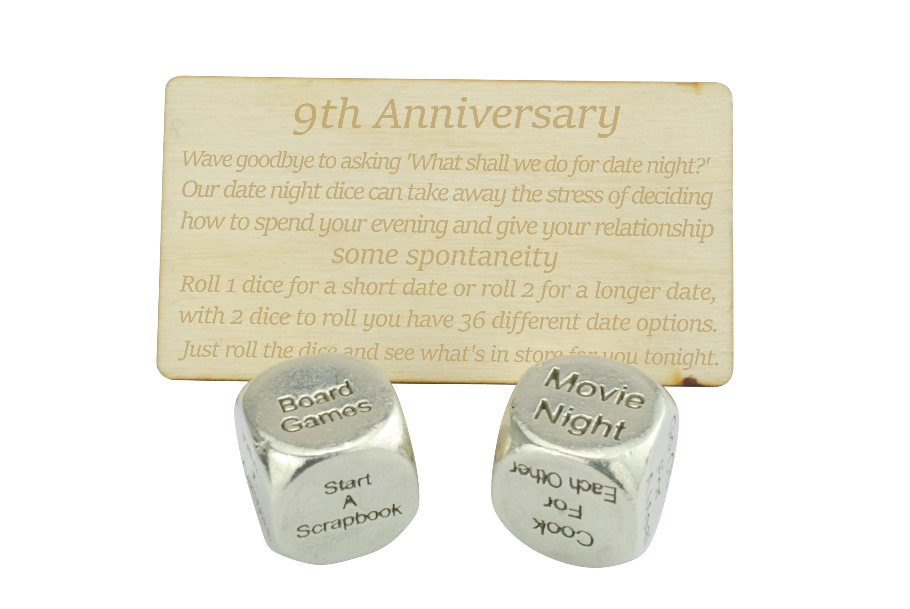 9 Year Anniversary Date Night Decider Dice Anniversary Gifts